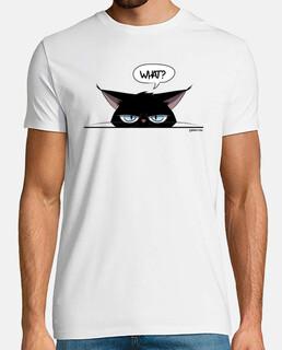 man t-shirt grumpy black cat