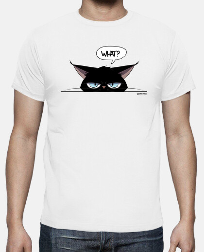 man t-shirt grumpy black cat
