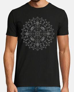 mandala wiccan avec chats, crânes, fantômes et potions - monochrome