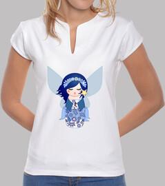 mandarin collar shirt blue fairy kokeshi