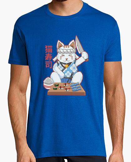 Maneki neko sushi bar cibo crudo kawaii per gatti t-shirt chef giapponese