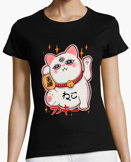 Camiseta Manekineko gato de la suerte japonés - mujer