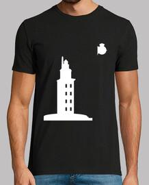 Manga corta, negra, Torre Hércules blanca