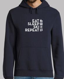 manger dormir répéter ski blanc