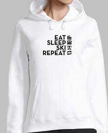 manger dormir répéter ski noir