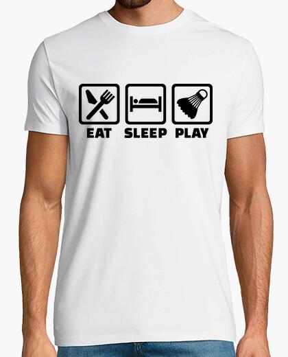 Tee-shirt mangez le jeu de badminton de sommeil