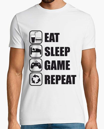 T-shirt mangiare, dormire, gioco, gamer disadattato ripetizione