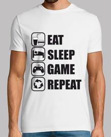 mangiare, dormire, gioco, gamer disadattato ripetizione