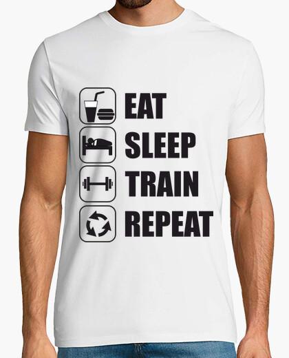 T-shirt mangiare, dormire, treno, ripetere