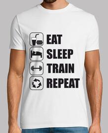 mangiare, dormire, treno, ripetere
