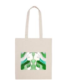 manico doppio sacchetto verde corto