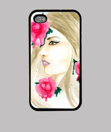 manicotto smartphone sfondo bianco rose