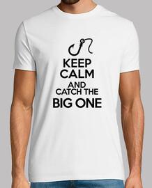 mantén la calma, atrapa, grande, un pez, pesca, deporte.