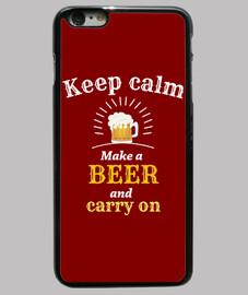 mantén la calma cubierta de cerveza i-phone 6 / 6s plus