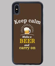 mantén la calma cubierta de cerveza i-phone xs max