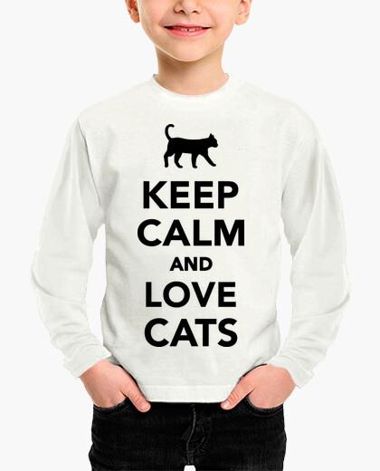 Ropa infantil Manten la calma y ama a los gatos