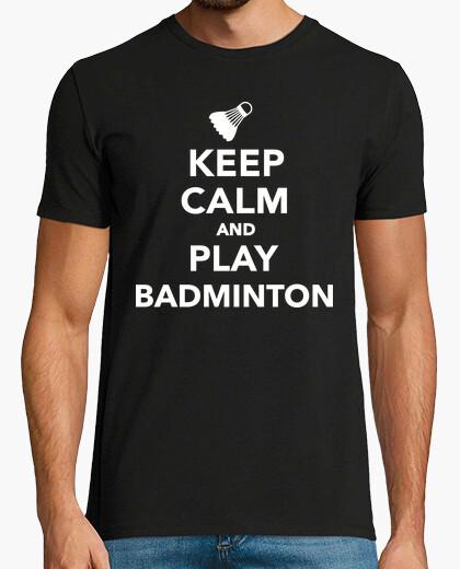 Camiseta mantén la calma y juega bádminton