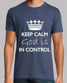mantener la calma dios está en control de camisetas hombre de la marina