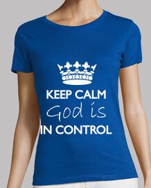 mantener la calma dios está en control de la camiseta azul