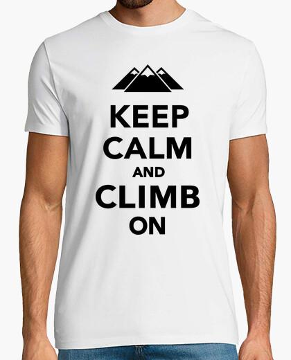 Camiseta mantener la calma escalada en las montañas