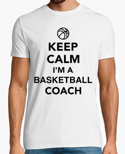 Camiseta mantener la calma que soy un entrenador de baloncesto
