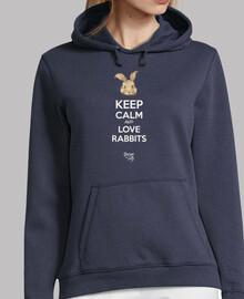 mantener la calma y ame conejos - sudadera