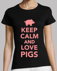 mantener la calma y ame los cerdos