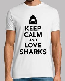 mantener la calma y ame los tiburones