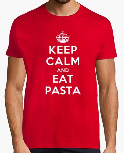 Camiseta mantener la calma y comer pasta