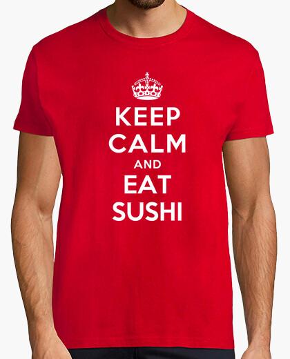 Camiseta mantener la calma y comer sushi