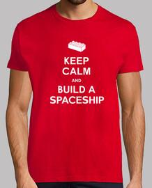 mantener la calma y construir una camisa para hombre de la nave espacial