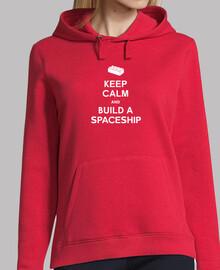 mantener la calma y construir una sudadera con capucha niñas nave espacial