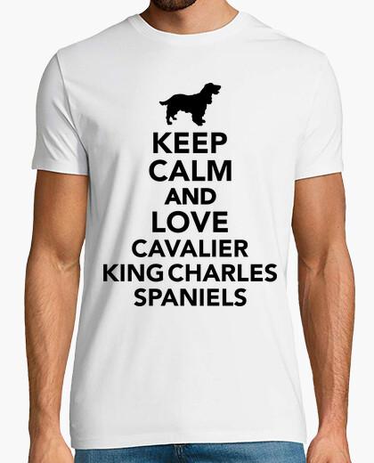 Camiseta mantener la calma y el amor cavalier king charles