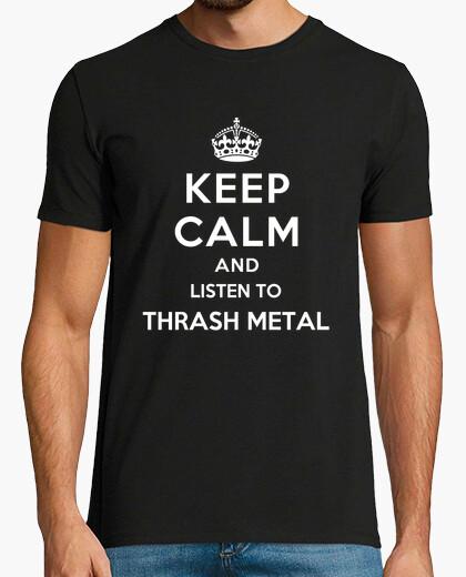 Camiseta mantener la calma y escuchar thrash metal