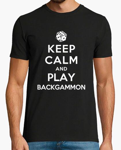 Camiseta mantener la calma y jugar al backgammon