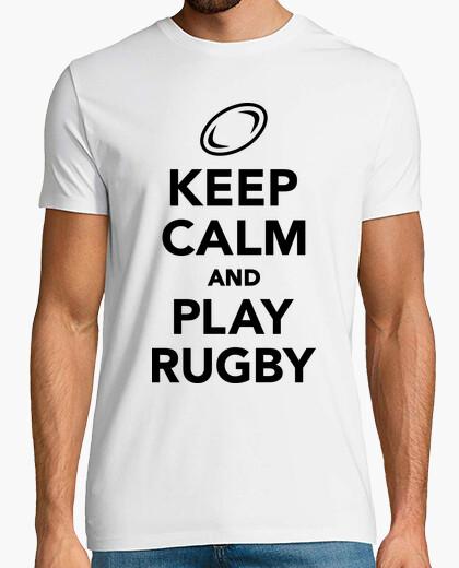 Camiseta mantener la calma y jugar al rugby