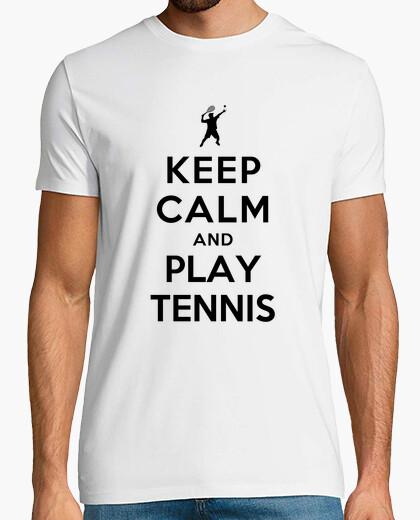 Camiseta mantener la calma y jugar al tenis