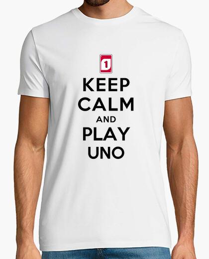 Camiseta mantener la calma y jugar uno