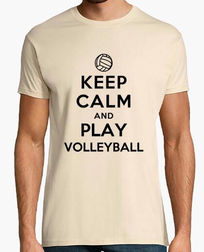 Camiseta mantener la calma y jugar voleibol