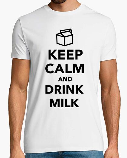Camiseta mantener la calma y tomar leche