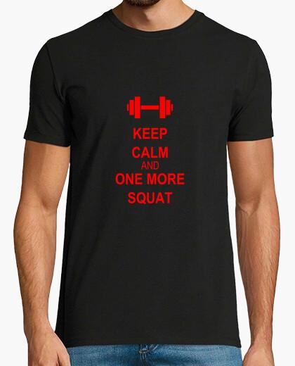 Camiseta mantener la calma y uno más rojo squat