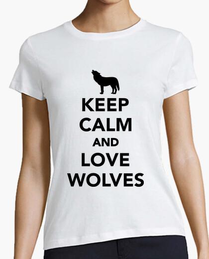 T-shirt mantenere i lupi calma e amore