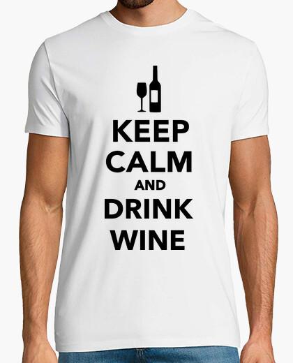 T-shirt mantenere la calma e bere vino