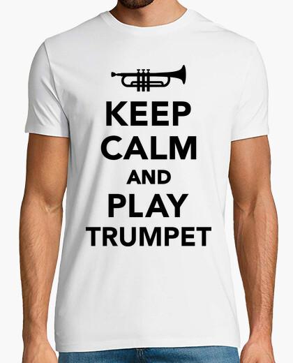 T-shirt mantenere la calma e suonare la tromba