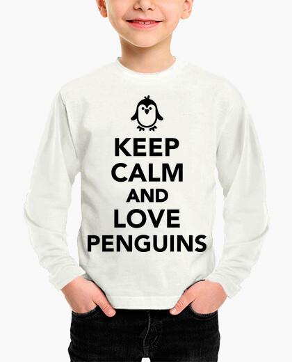 Abbigliamento bambino mantieni la calma e ama il pinguino