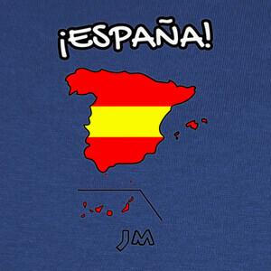 Camisetas Mapa de España con Bandera Roja y Amari