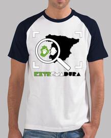 Mapa Extremadura camiseta estilo béisbol