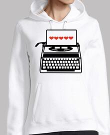 máquina de escribir corazones amor