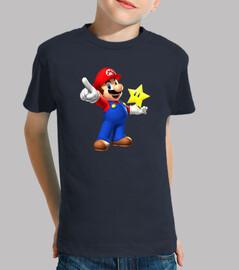 Mario, niño, manga corta, azul marino