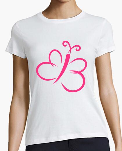 Camiseta mariposa de color rosa